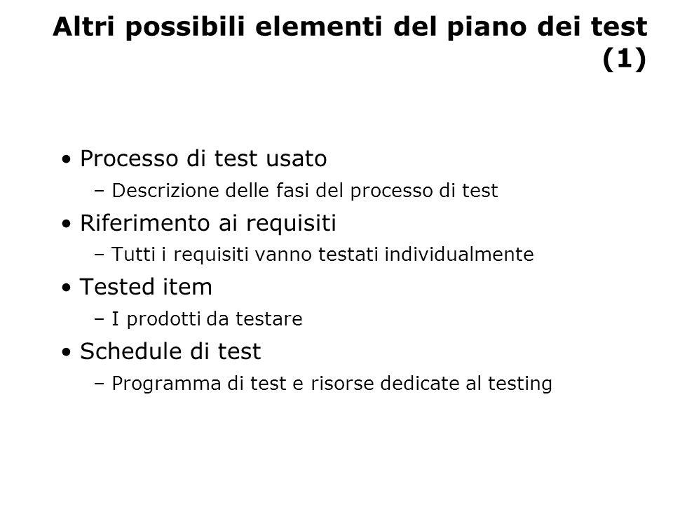 Altri possibili elementi del piano dei test (2) Test record – Formato di memorizzazione dei test e dei loro risultati Requisiti hardware e software – Tool software usati e stima delle risorse hardware Vincoli di processo – Ad esempio, limitazioni di staff