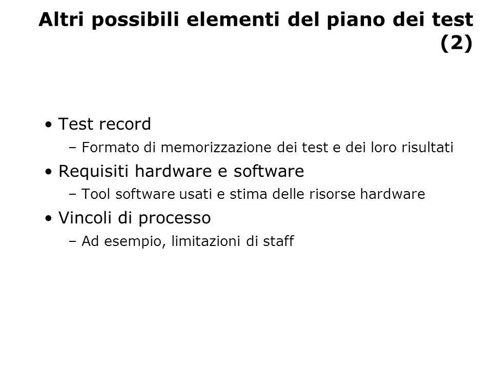 Altri possibili elementi del piano dei test (2) Test record – Formato di memorizzazione dei test e dei loro risultati Requisiti hardware e software –