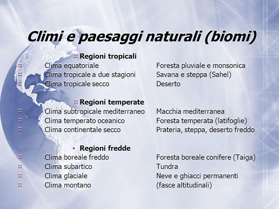 Climi e paesaggi naturali (biomi)  Regioni tropicali  Clima equatorialeForesta pluviale e monsonica  Clima tropicale a due stagioniSavana e steppa