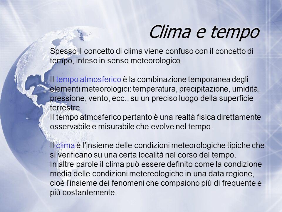 Clima e tempo Spesso il concetto di clima viene confuso con il concetto di tempo, inteso in senso meteorologico. Il tempo atmosferico è la combinazion