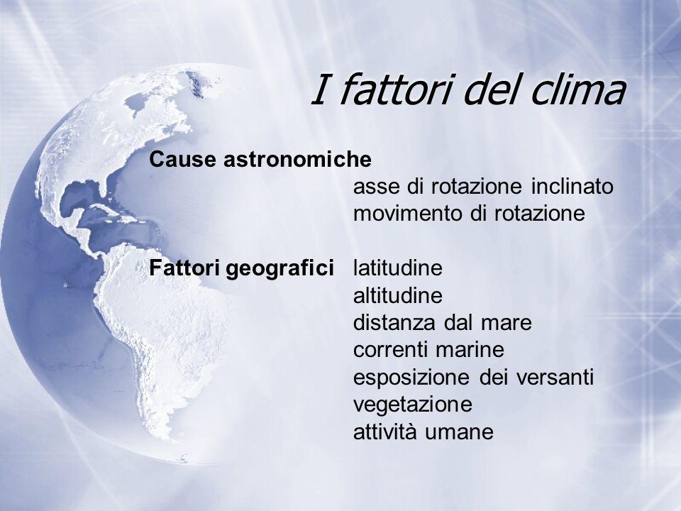 I fattori del clima Cause astronomiche asse di rotazione inclinato movimento di rotazione Fattori geografici latitudine altitudine distanza dal mare c