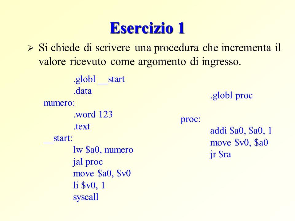 Esercizio 1  Si chiede di scrivere una procedura che incrementa il valore ricevuto come argomento di ingresso..globl proc proc: addi $a0, $a0, 1 move $v0, $a0 jr $ra.globl __start.data numero:.word 123.text __start: lw $a0, numero jal proc move $a0, $v0 li $v0, 1 syscall