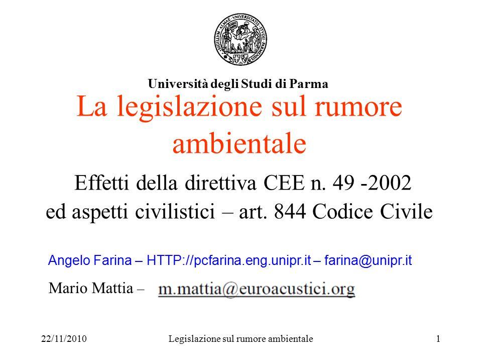 22/11/2010Legislazione sul rumore ambientale1 La legislazione sul rumore ambientale Effetti della direttiva CEE n.