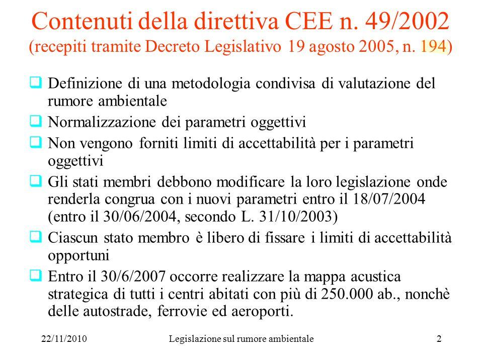 22/11/2010Legislazione sul rumore ambientale2 Contenuti della direttiva CEE n.