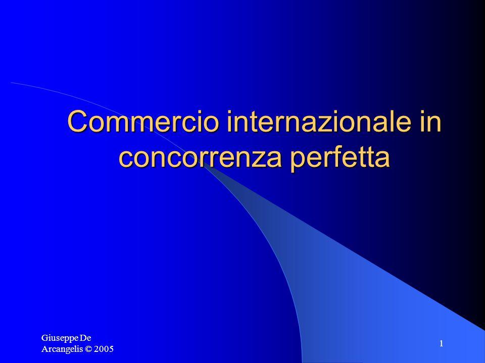 Giuseppe De Arcangelis © 2005 1 Commercio internazionale in concorrenza perfetta