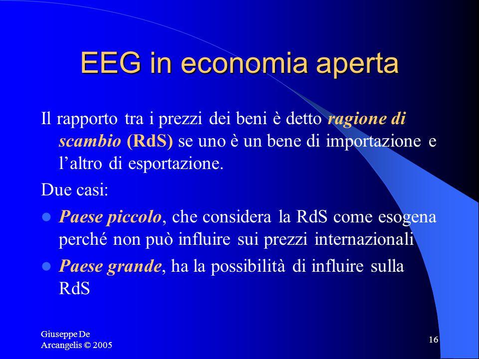Giuseppe De Arcangelis © 2005 16 EEG in economia aperta Il rapporto tra i prezzi dei beni è detto ragione di scambio (RdS) se uno è un bene di importazione e l'altro di esportazione.