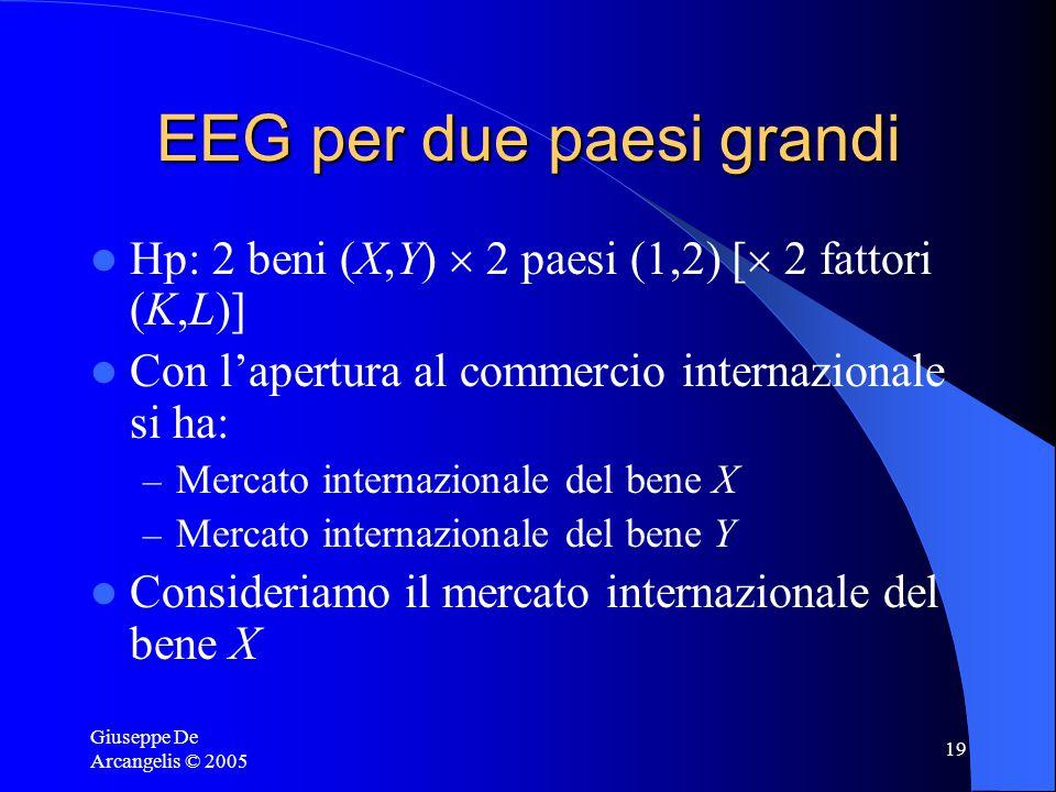 Giuseppe De Arcangelis © 2005 19 EEG per due paesi grandi Hp: 2 beni (X,Y)  2 paesi (1,2) [  2 fattori (K,L)] Con l'apertura al commercio internazionale si ha: – Mercato internazionale del bene X – Mercato internazionale del bene Y Consideriamo il mercato internazionale del bene X