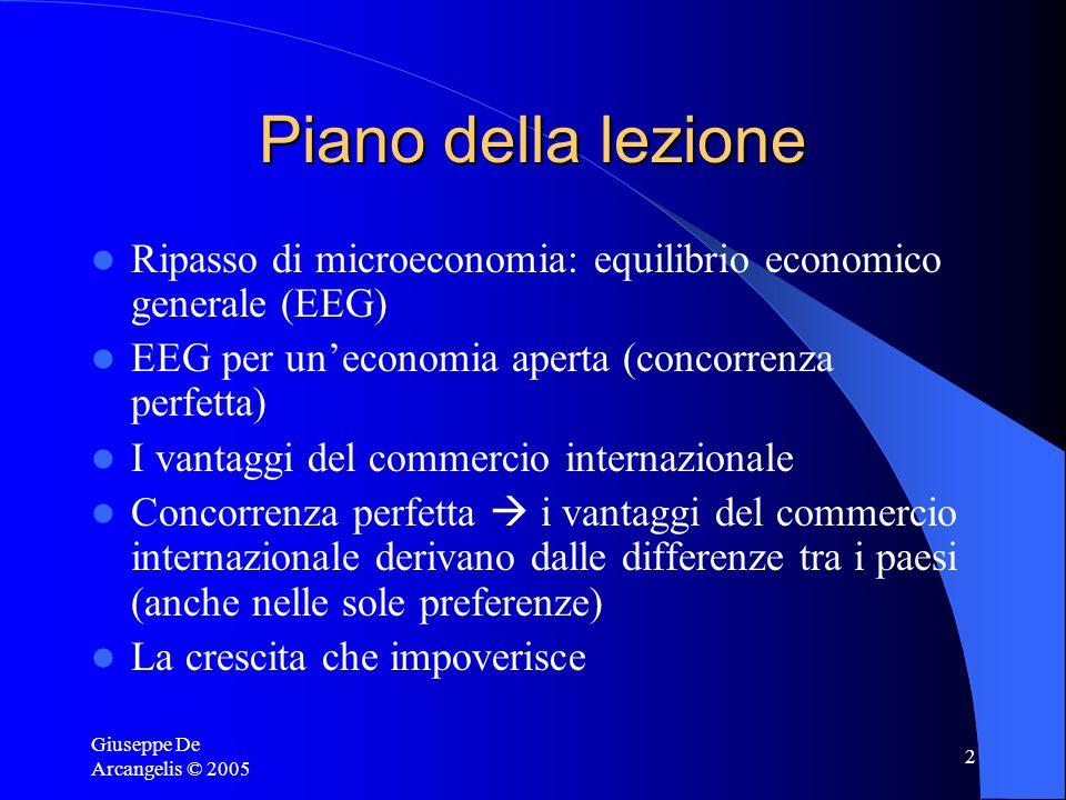 Giuseppe De Arcangelis © 2005 2 Piano della lezione Ripasso di microeconomia: equilibrio economico generale (EEG) EEG per un'economia aperta (concorrenza perfetta) I vantaggi del commercio internazionale Concorrenza perfetta  i vantaggi del commercio internazionale derivano dalle differenze tra i paesi (anche nelle sole preferenze) La crescita che impoverisce