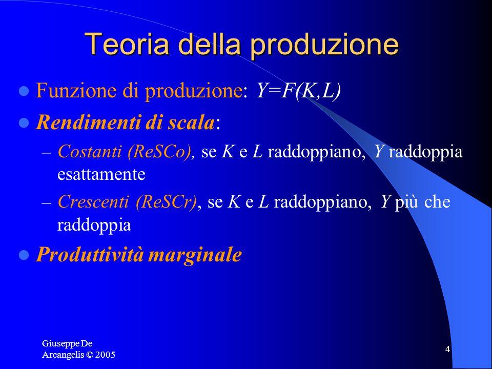 Giuseppe De Arcangelis © 2005 4 Teoria della produzione Funzione di produzione: Y=F(K,L) Rendimenti di scala: – Costanti (ReSCo), se K e L raddoppiano, Y raddoppia esattamente – Crescenti (ReSCr), se K e L raddoppiano, Y più che raddoppia Produttività marginale