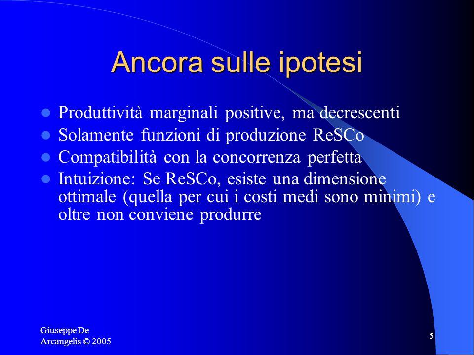 Giuseppe De Arcangelis © 2005 5 Ancora sulle ipotesi Produttività marginali positive, ma decrescenti Solamente funzioni di produzione ReSCo Compatibilità con la concorrenza perfetta Intuizione: Se ReSCo, esiste una dimensione ottimale (quella per cui i costi medi sono minimi) e oltre non conviene produrre
