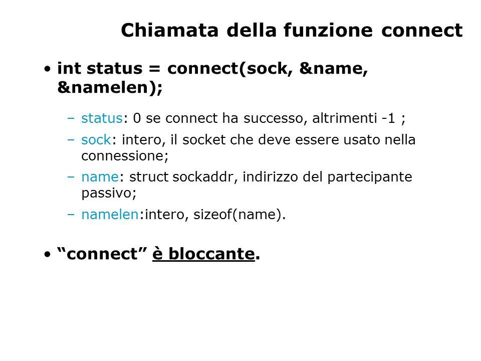 Chiamata della funzione connect int status = connect(sock, &name, &namelen); –status: 0 se connect ha successo, altrimenti -1 ; –sock: intero, il socket che deve essere usato nella connessione; –name: struct sockaddr, indirizzo del partecipante passivo; –namelen:intero, sizeof(name).