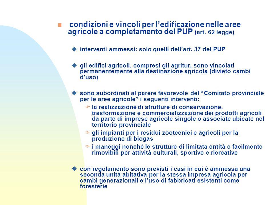 n condizioni e vincoli per l'edificazione nelle aree agricole a completamento del PUP (art.