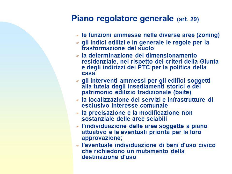 Piano regolatore generale (art. 29) F le funzioni ammesse nelle diverse aree (zoning) F gli indici edilizi e in generale le regole per la trasformazio