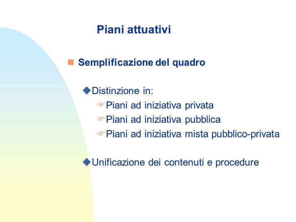 Piani attuativi nSemplificazione del quadro uDistinzione in: FPiani ad iniziativa privata FPiani ad iniziativa pubblica FPiani ad iniziativa mista pubblico-privata uUnificazione dei contenuti e procedure