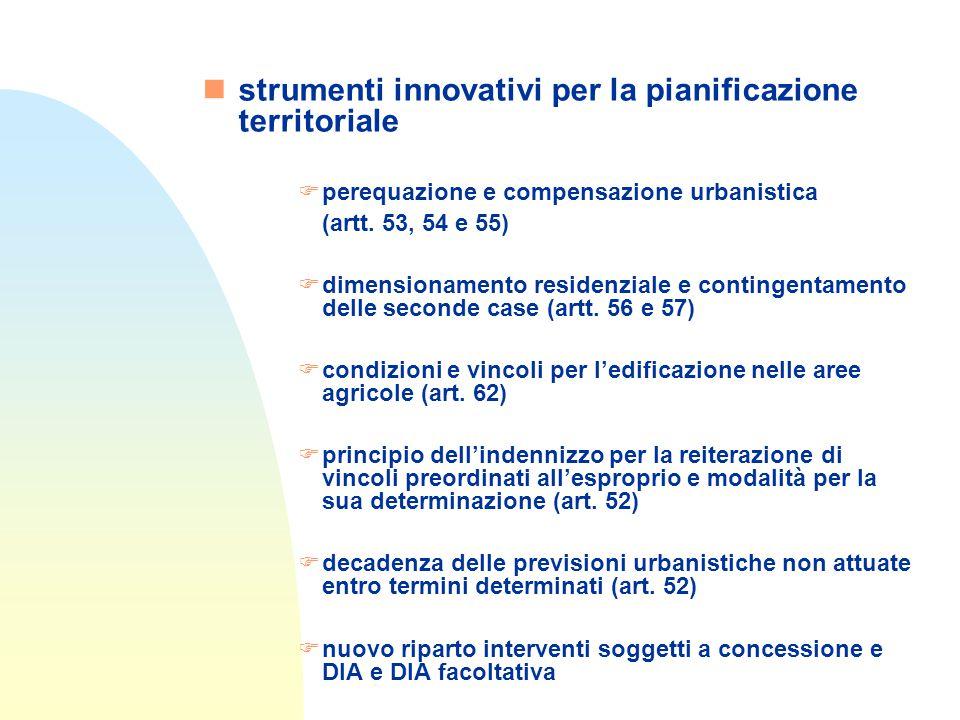 nstrumenti innovativi per la pianificazione territoriale Fperequazione e compensazione urbanistica (artt.