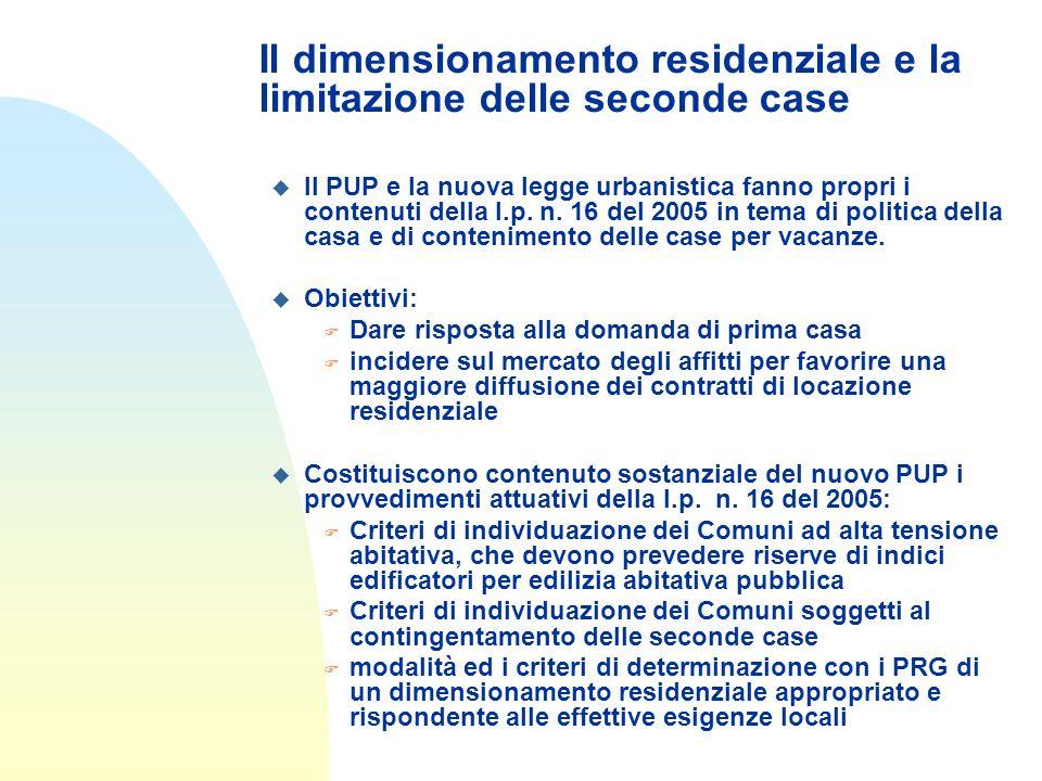 Il dimensionamento residenziale e la limitazione delle seconde case u Il PUP e la nuova legge urbanistica fanno propri i contenuti della l.p.