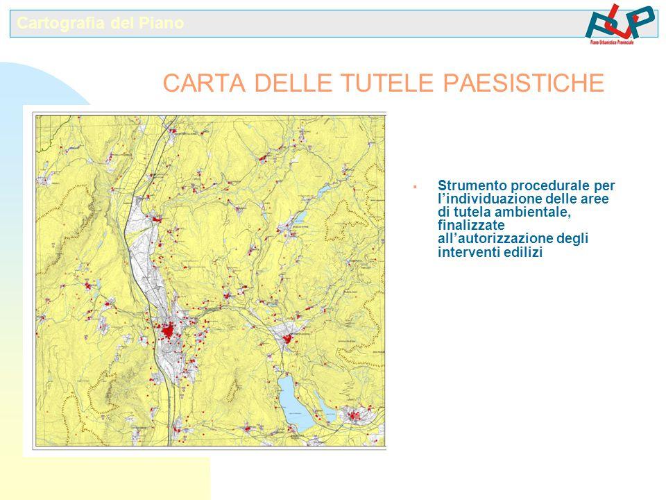  Strumento procedurale per l'individuazione delle aree di tutela ambientale, finalizzate all'autorizzazione degli interventi edilizi Cartografia del Piano CARTA DELLE TUTELE PAESISTICHE