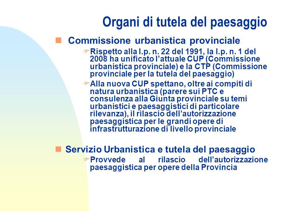 Organi di tutela del paesaggio n Commissione urbanistica provinciale FRispetto alla l.p.