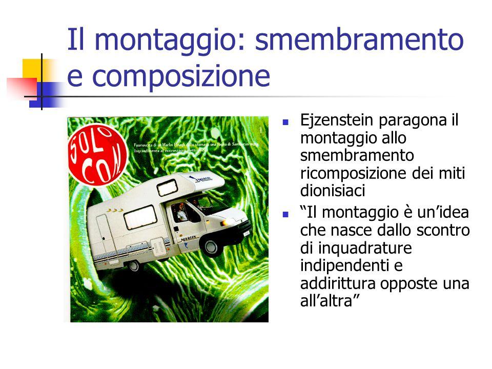 Il montaggio: smembramento e composizione Ejzenstein paragona il montaggio allo smembramento ricomposizione dei miti dionisiaci Il montaggio è un'idea che nasce dallo scontro di inquadrature indipendenti e addirittura opposte una all'altra