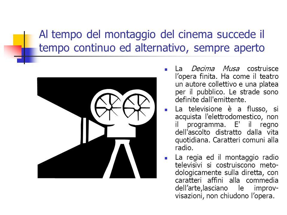 Al tempo del montaggio del cinema succede il tempo continuo ed alternativo, sempre aperto La Decima Musa costruisce l'opera finita.
