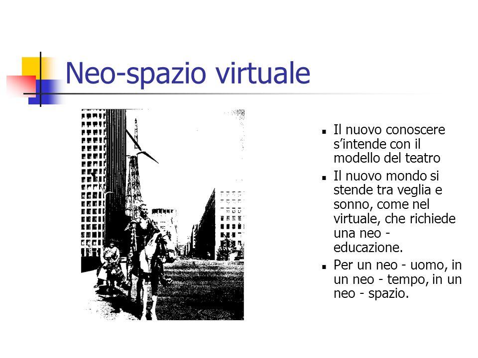 Neo-spazio virtuale Il nuovo conoscere s'intende con il modello del teatro Il nuovo mondo si stende tra veglia e sonno, come nel virtuale, che richiede una neo - educazione.