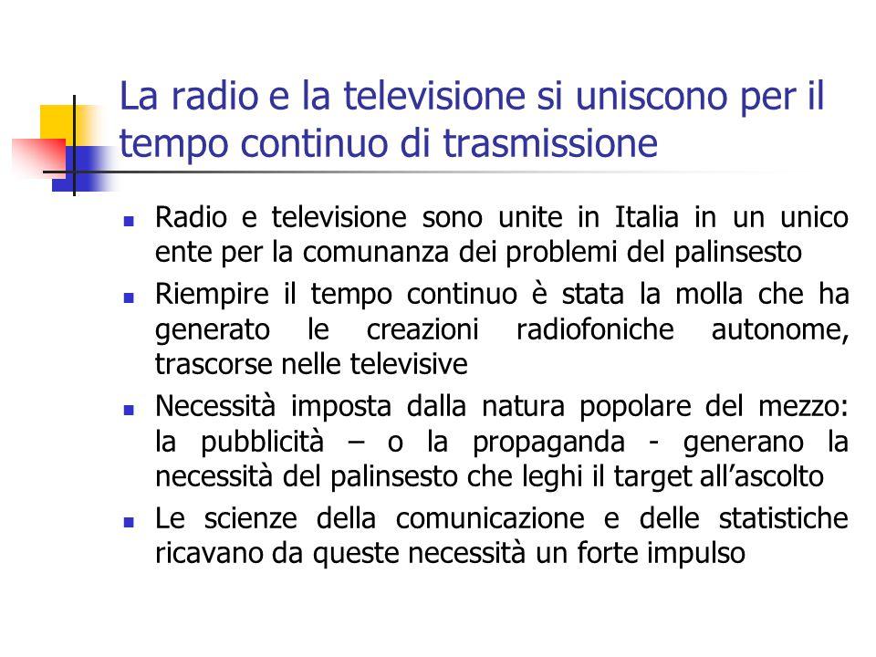 La radio e la televisione si uniscono per il tempo continuo di trasmissione Radio e televisione sono unite in Italia in un unico ente per la comunanza dei problemi del palinsesto Riempire il tempo continuo è stata la molla che ha generato le creazioni radiofoniche autonome, trascorse nelle televisive Necessità imposta dalla natura popolare del mezzo: la pubblicità – o la propaganda - generano la necessità del palinsesto che leghi il target all'ascolto Le scienze della comunicazione e delle statistiche ricavano da queste necessità un forte impulso