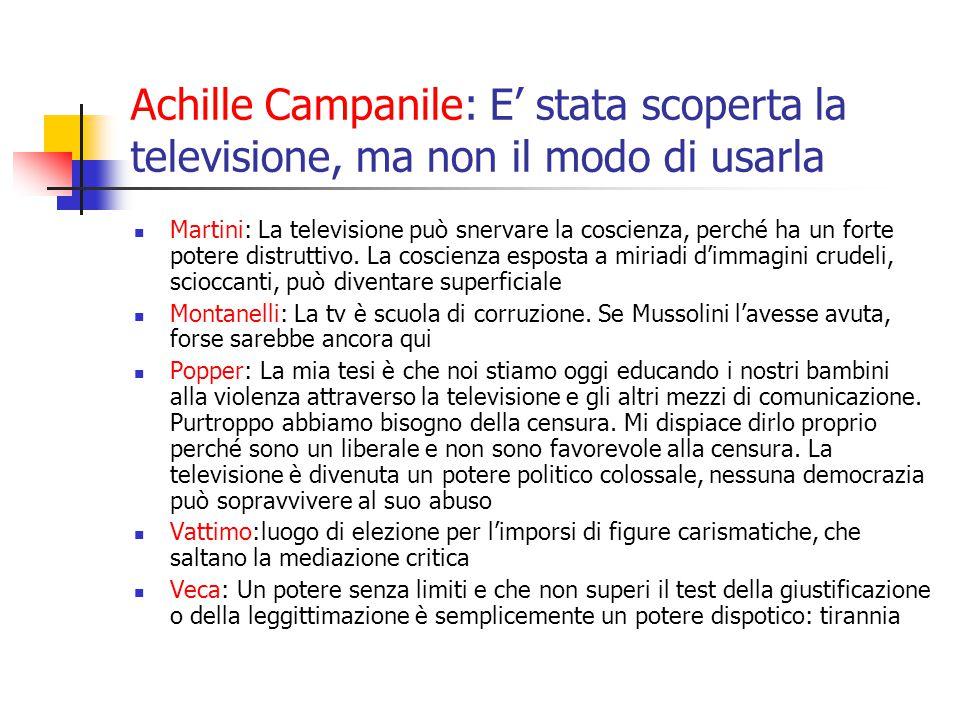 Achille Campanile: E' stata scoperta la televisione, ma non il modo di usarla Martini: La televisione può snervare la coscienza, perché ha un forte potere distruttivo.