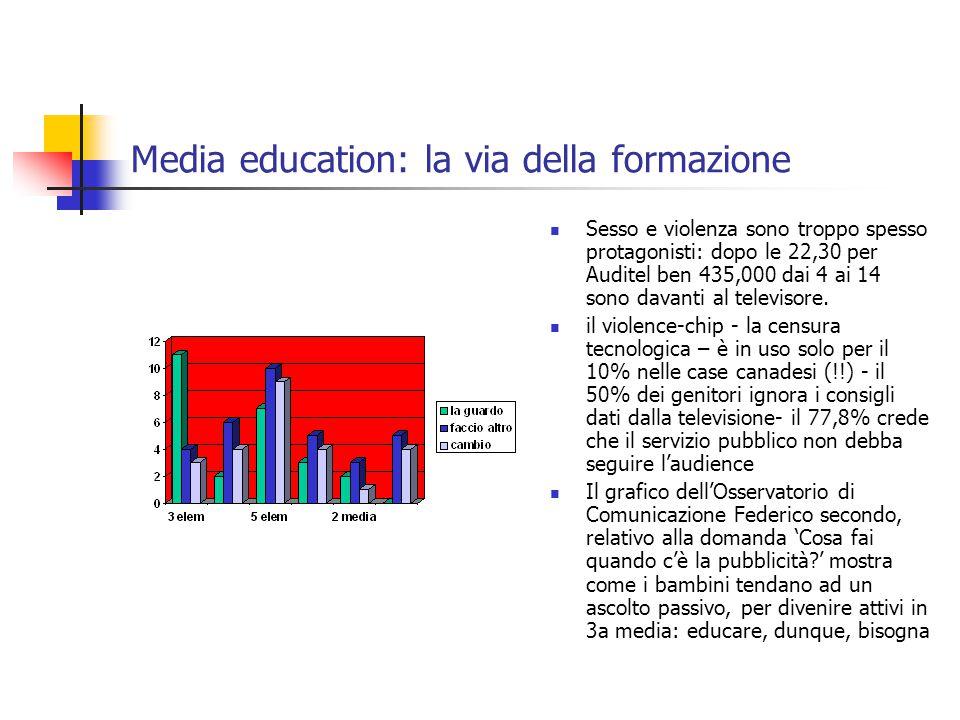 Media education: la via della formazione Sesso e violenza sono troppo spesso protagonisti: dopo le 22,30 per Auditel ben 435,000 dai 4 ai 14 sono davanti al televisore.