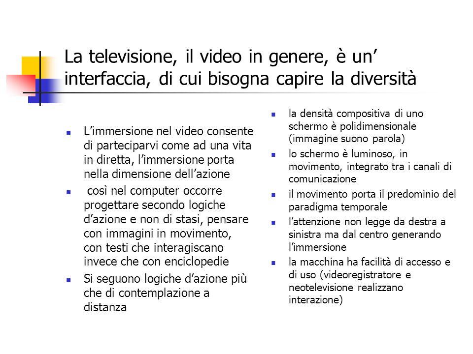 La televisione, il video in genere, è un' interfaccia, di cui bisogna capire la diversità L'immersione nel video consente di parteciparvi come ad una vita in diretta, l'immersione porta nella dimensione dell'azione così nel computer occorre progettare secondo logiche d'azione e non di stasi, pensare con immagini in movimento, con testi che interagiscano invece che con enciclopedie Si seguono logiche d'azione più che di contemplazione a distanza la densità compositiva di uno schermo è polidimensionale (immagine suono parola) lo schermo è luminoso, in movimento, integrato tra i canali di comunicazione il movimento porta il predominio del paradigma temporale l'attenzione non legge da destra a sinistra ma dal centro generando l'immersione la macchina ha facilità di accesso e di uso (videoregistratore e neotelevisione realizzano interazione)