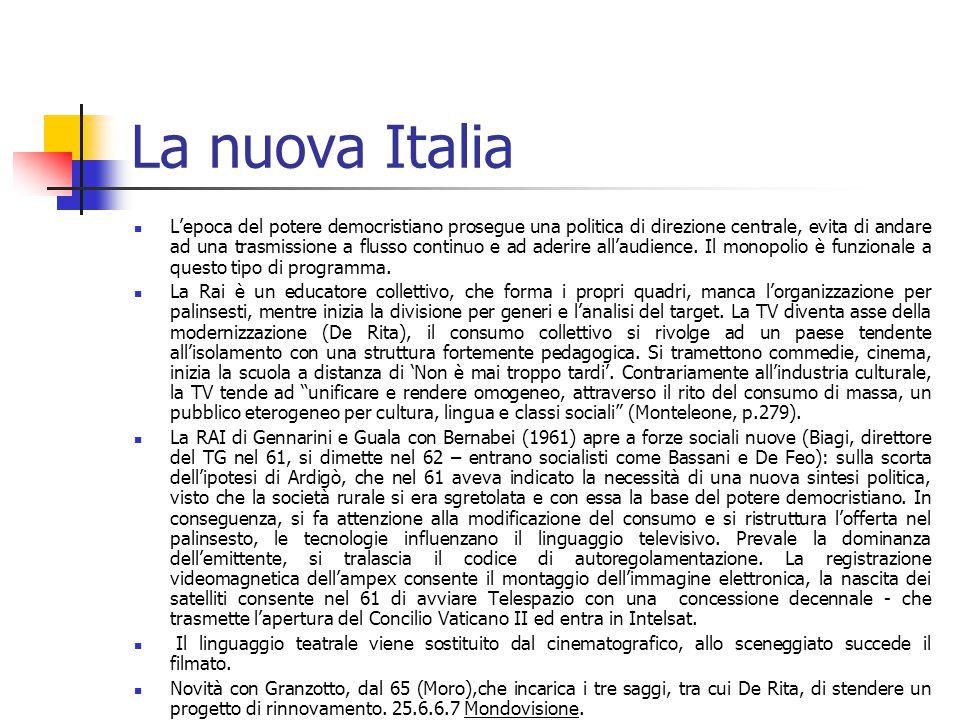 La nuova Italia L'epoca del potere democristiano prosegue una politica di direzione centrale, evita di andare ad una trasmissione a flusso continuo e ad aderire all'audience.