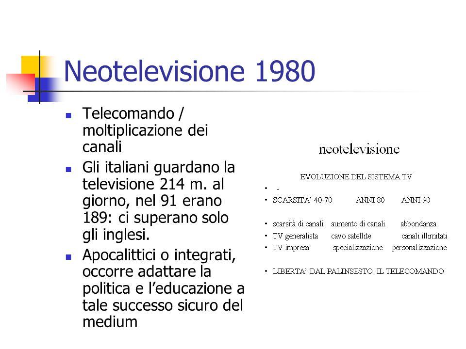 Neotelevisione 1980 Telecomando / moltiplicazione dei canali Gli italiani guardano la televisione 214 m.