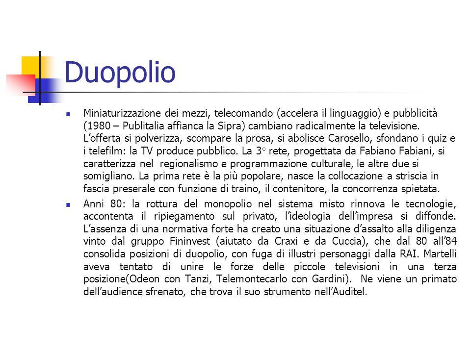 Duopolio Miniaturizzazione dei mezzi, telecomando (accelera il linguaggio) e pubblicità (1980 – Publitalia affianca la Sipra) cambiano radicalmente la televisione.