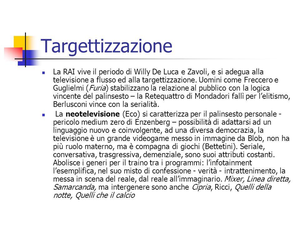 Targettizzazione La RAI vive il periodo di Willy De Luca e Zavoli, e si adegua alla televisione a flusso ed alla targettizzazione.