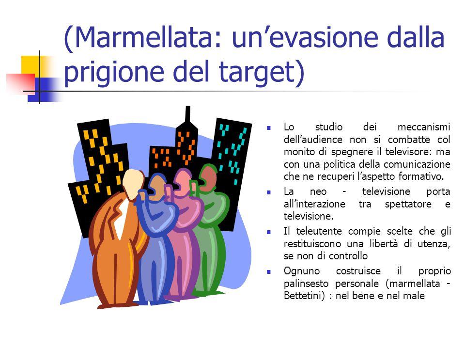 (Marmellata: un'evasione dalla prigione del target) Lo studio dei meccanismi dell'audience non si combatte col monito di spegnere il televisore: ma con una politica della comunicazione che ne recuperi l'aspetto formativo.