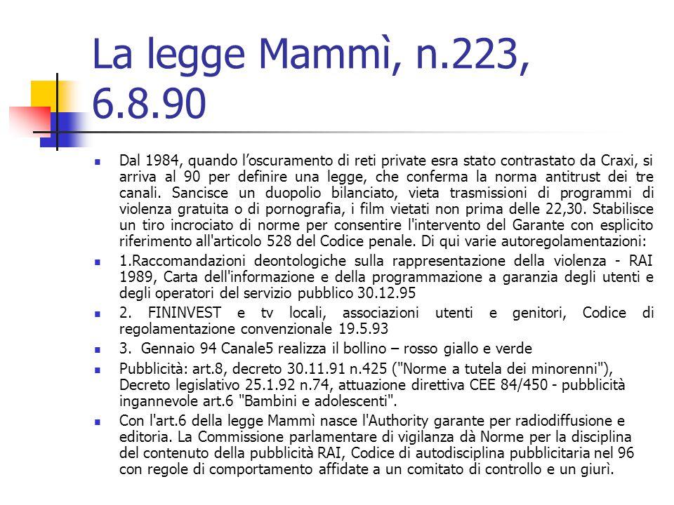 La legge Mammì, n.223, 6.8.90 Dal 1984, quando l'oscuramento di reti private esra stato contrastato da Craxi, si arriva al 90 per definire una legge, che conferma la norma antitrust dei tre canali.