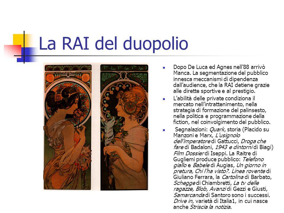La RAI del duopolio Dopo De Luca ed Agnes nell'88 arrivò Manca.