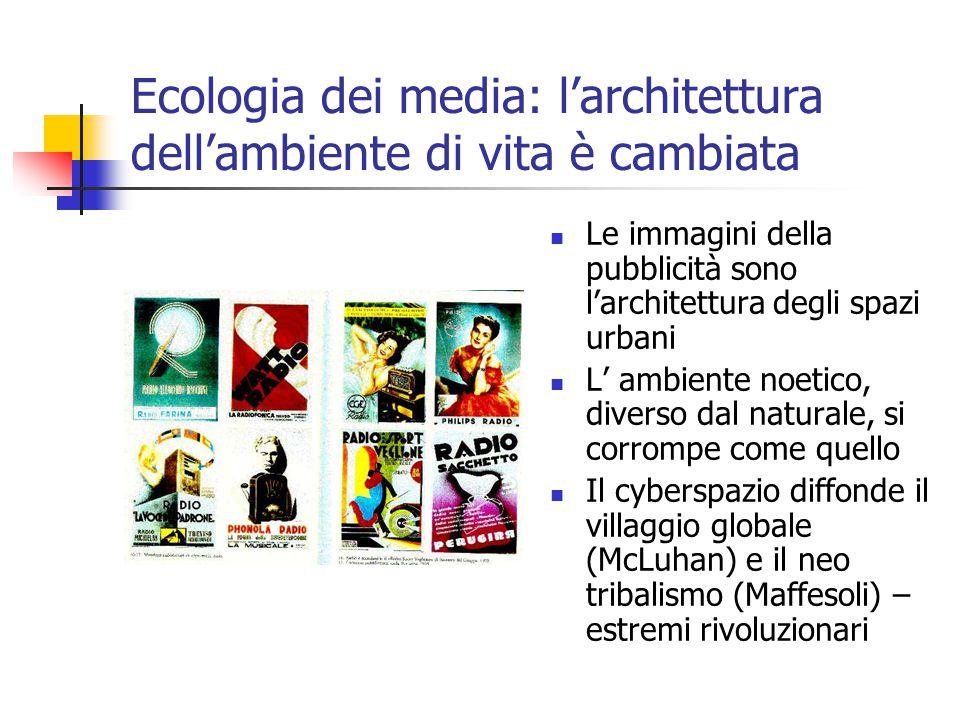 Ecologia dei media: l'architettura dell'ambiente di vita è cambiata Le immagini della pubblicità sono l'architettura degli spazi urbani L' ambiente noetico, diverso dal naturale, si corrompe come quello Il cyberspazio diffonde il villaggio globale (McLuhan) e il neo tribalismo (Maffesoli) – estremi rivoluzionari