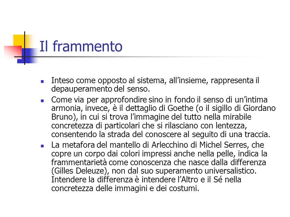 Il frammento Inteso come opposto al sistema, all'insieme, rappresenta il depauperamento del senso.