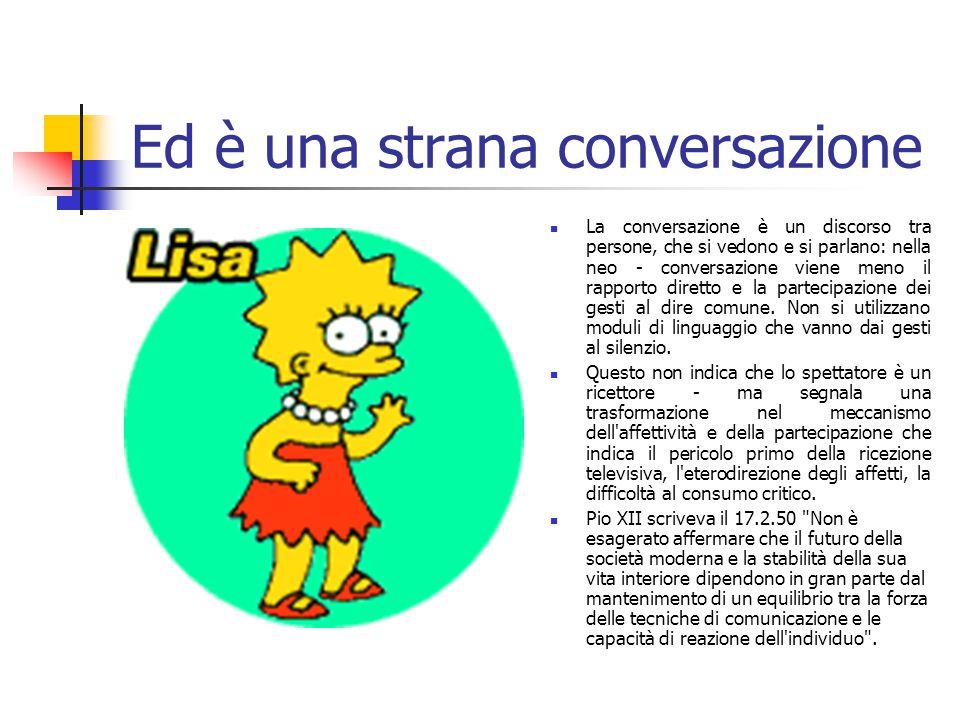Ed è una strana conversazione La conversazione è un discorso tra persone, che si vedono e si parlano: nella neo - conversazione viene meno il rapporto diretto e la partecipazione dei gesti al dire comune.