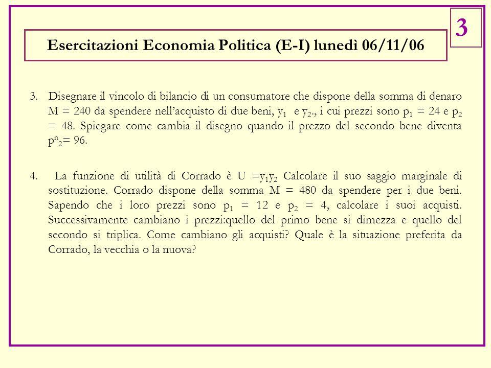 3. Disegnare il vincolo di bilancio di un consumatore che dispone della somma di denaro M = 240 da spendere nell'acquisto di due beni, y 1 e y 2., i c