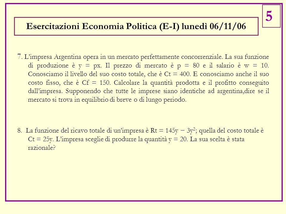 Esercitazioni Economia Politica (E-I) lunedì 06/11/06 7. L'impresa Argentina opera in un mercato perfettamente concorrenziale. La sua funzione di prod