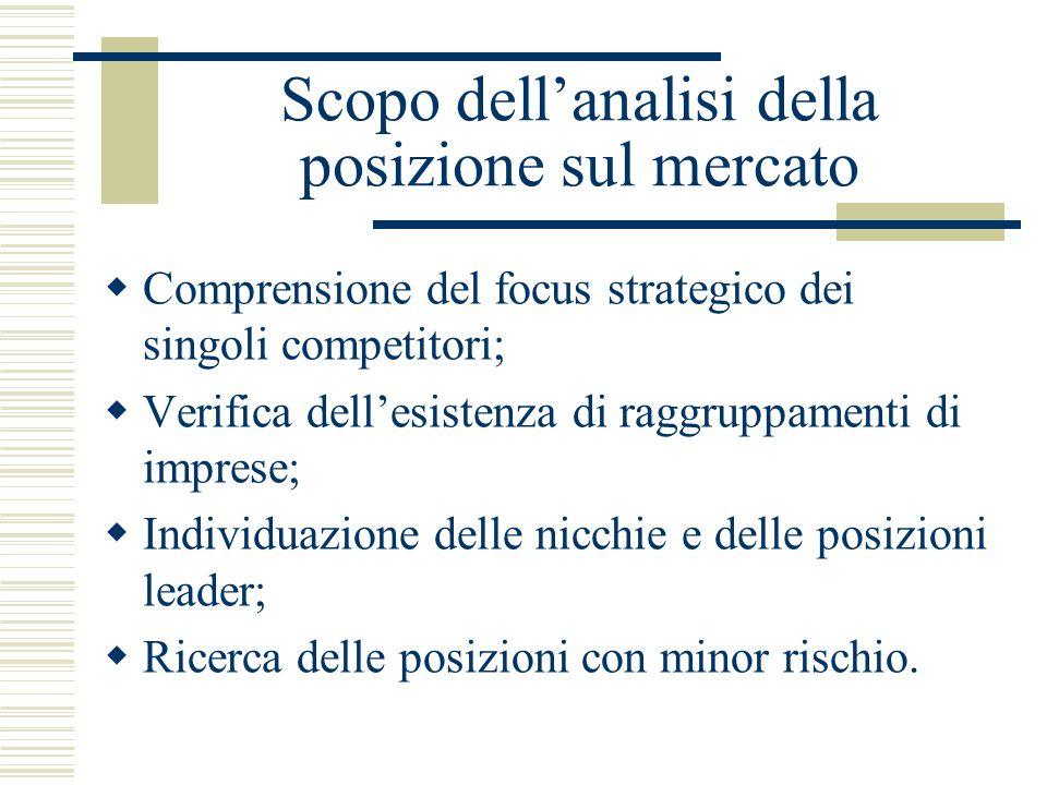 Scopo dell'analisi della posizione sul mercato  Comprensione del focus strategico dei singoli competitori;  Verifica dell'esistenza di raggruppamenti di imprese;  Individuazione delle nicchie e delle posizioni leader;  Ricerca delle posizioni con minor rischio.