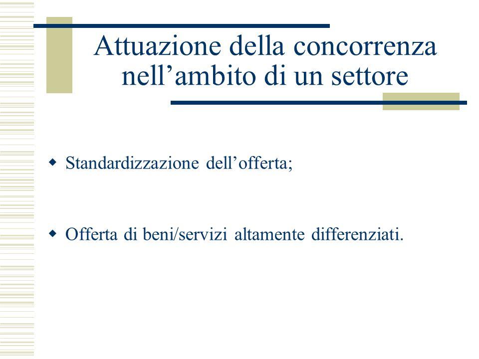 Attuazione della concorrenza nell'ambito di un settore  Standardizzazione dell'offerta;  Offerta di beni/servizi altamente differenziati.