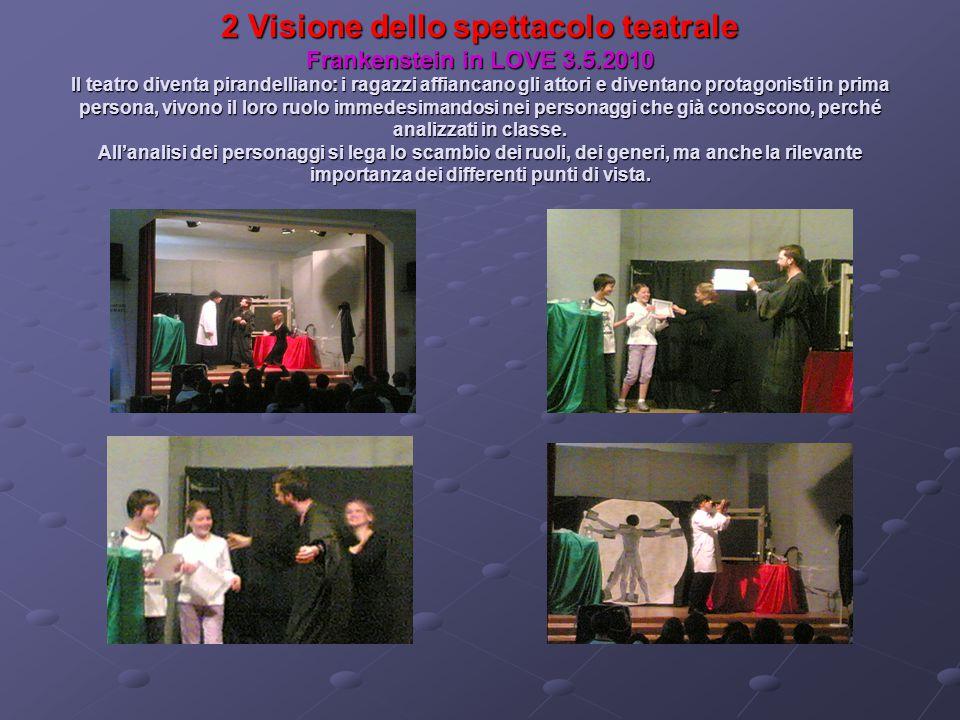 2 Visione dello spettacolo teatrale Frankenstein in LOVE 3.5.2010 Il teatro diventa pirandelliano: i ragazzi affiancano gli attori e diventano protago