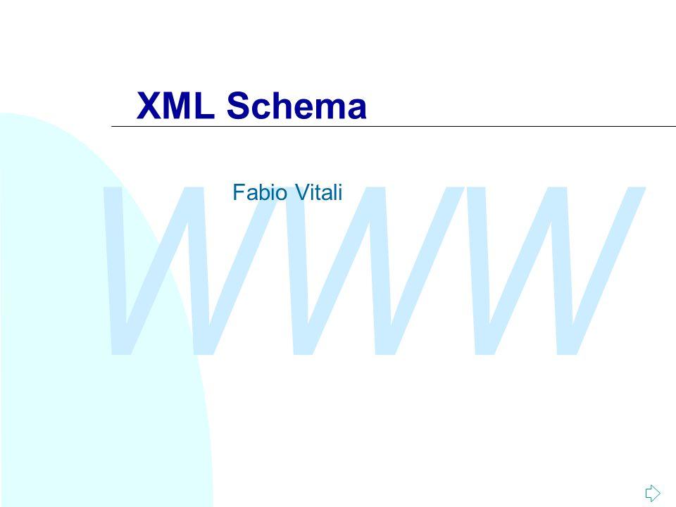 WWW Fabio Vitali12 I tipi in XML Schema XML Schema usa i tipi per esprimere vincoli sul contenuto di elementi ed attributi.