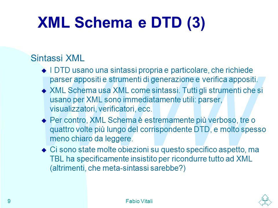 WWW Fabio Vitali10 XML Schema E' una delle attività del working group su XML.
