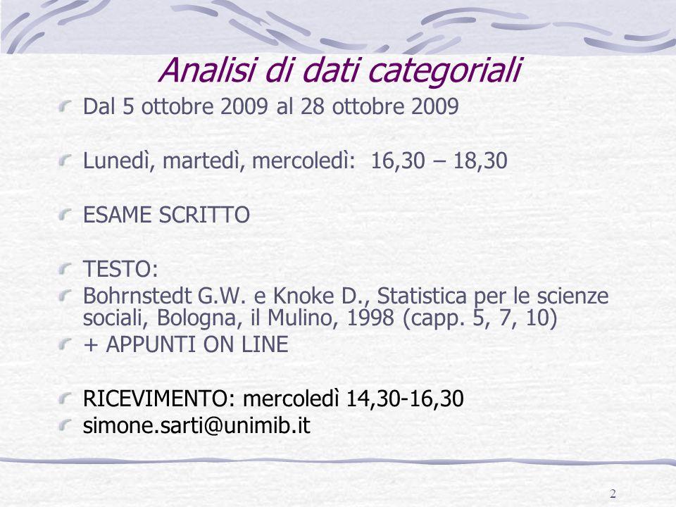 2 Dal 5 ottobre 2009 al 28 ottobre 2009 Lunedì, martedì, mercoledì: 16,30 – 18,30 ESAME SCRITTO TESTO: Bohrnstedt G.W.