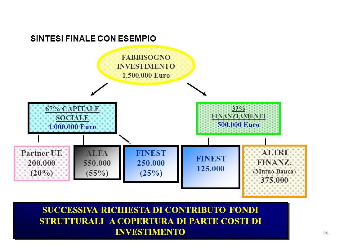 14 SINTESI FINALE CON ESEMPIO FABBISOGNO INVESTIMENTO 1.500.000 Euro 67% CAPITALE SOCIALE 1.000.000 Euro 33% FINANZIAMENTI 500.000 Euro Partner UE 200