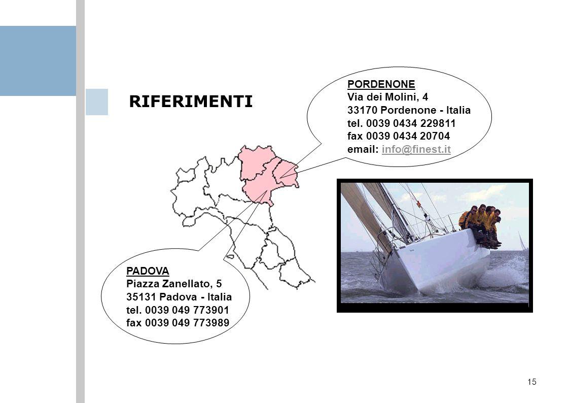 15 RIFERIMENTI PORDENONE Via dei Molini, 4 33170 Pordenone - Italia tel. 0039 0434 229811 fax 0039 0434 20704 email: info@finest.itinfo@finest.it PADO