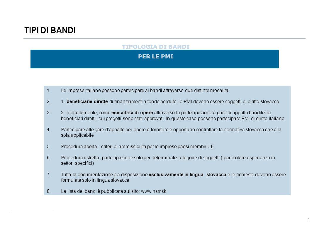 1 TIPI DI BANDI TIPOLOGIA DI BANDI PER LE PMI 1.Le imprese italiane possono partecipare ai bandi attraverso due distinte modalità: 2.1- beneficiarie d